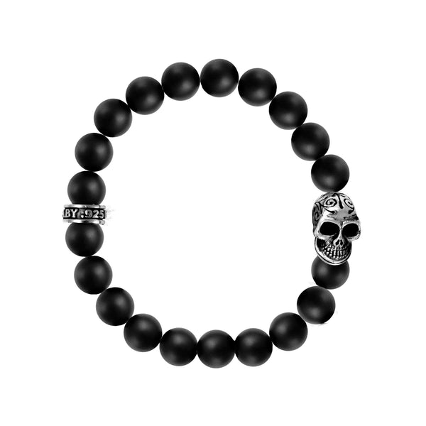 10mm Onyx Bead Bracelet w/Day of the Dead Skull
