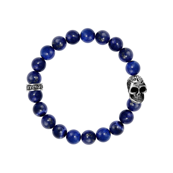 10mm Lapis Bead Bracelet w/Day of the Dead Skull