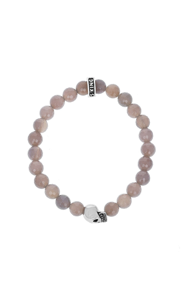 king baby grey agate and silver skull bracelet