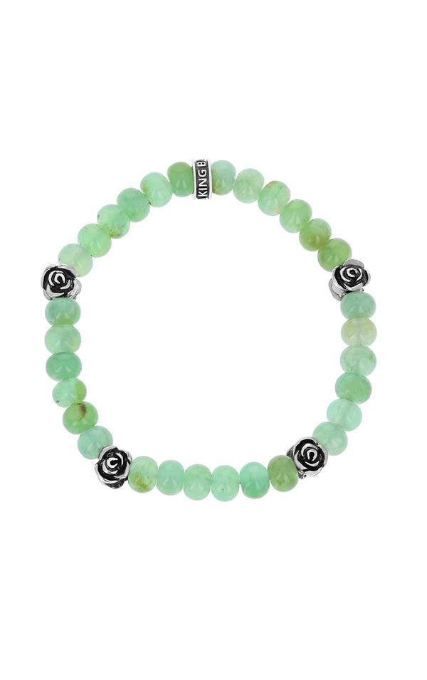 Chrysoprase Bracelet with 4 Silver Roses