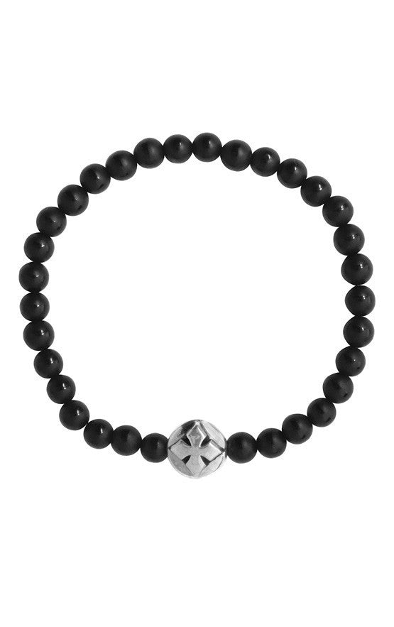 6MM Center polished onyx bead Bracelet with MB cross bead