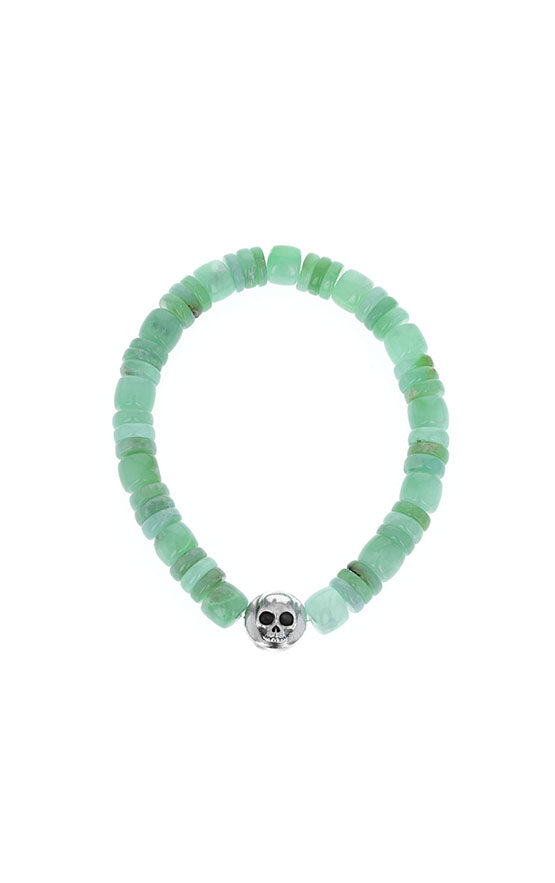 Chrysoprase Bracelet with Silver Skull Button