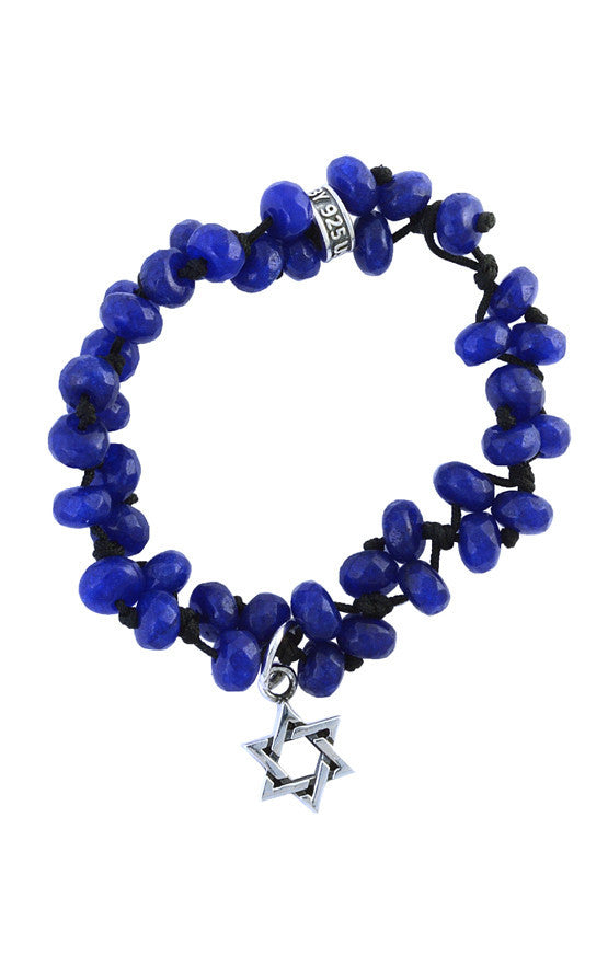 8mm Sapphire Jade Rondelle Bead Bracelet with Star of David Charm