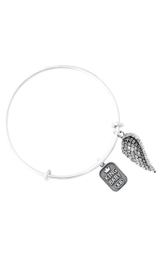 Adjustable Bangle Bracelet with Clear CZ Wing Charm