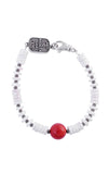 White Shell Bead Bracelet with a Round Red Coral Bead