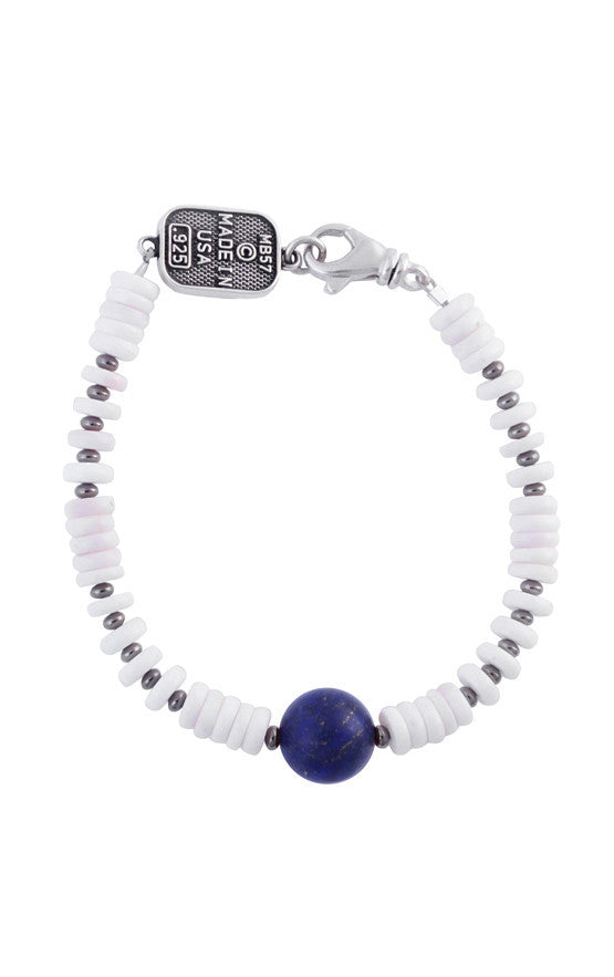 White Shell Bead Bracelet with a Round Lapis Bead