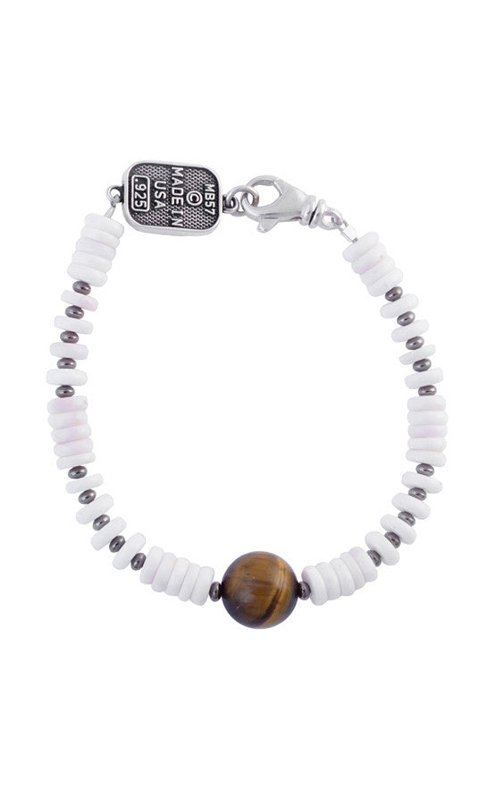 White Shell Bead Bracelet with a Round Tiger Eye Bead