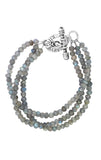 Three Strand Labradorite Bead Bracelet With Mini Toggle Clasp