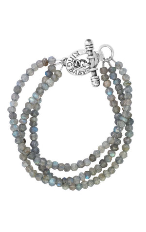 Three Strand Labradorite Bead Bracelet With Minin Toggle Clasp