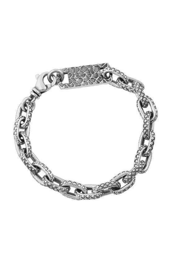 king baby oval link crosshatch bracelet