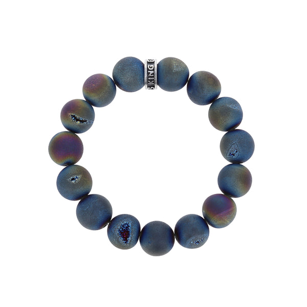 10mm Peacock Druzy Agate Bracelet w/Logo Ring