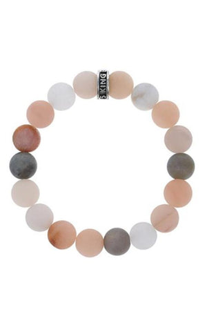 10mm Assorted Moonstone Beaded Bracelet w/ Logo Ring