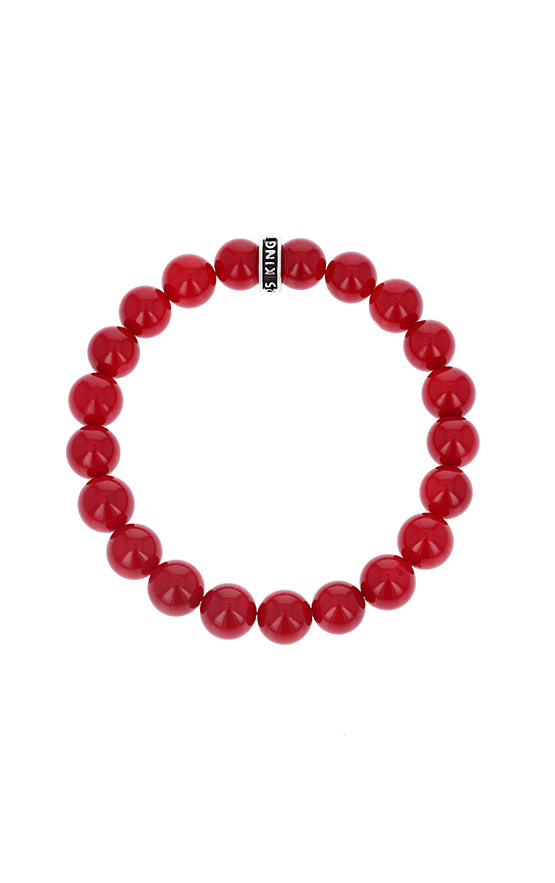 10mm Red Coral Beaded Bracelet