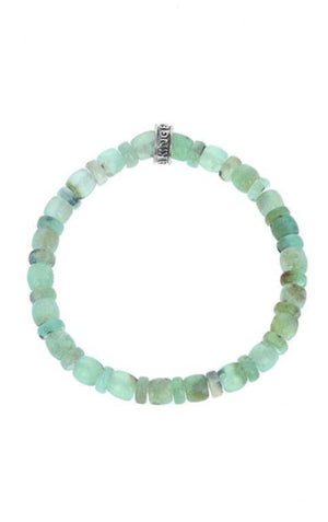6mm Chrysoprase Barrel & Rondelle Bead Bracelet W/Logo Ring