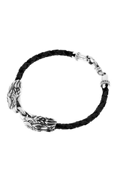 Double Eagle Braided Leather Bracelet