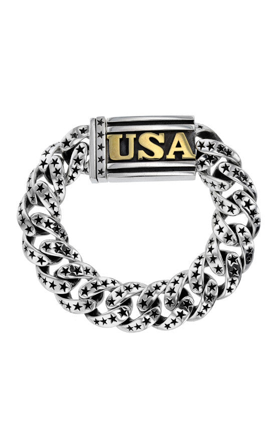 Star Link Bracelet with Gold USA Clasp