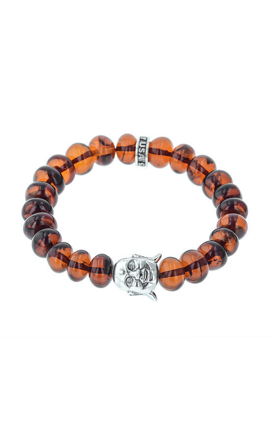 Amber Bead Bracelet with Silver Smiling Buddha Bead