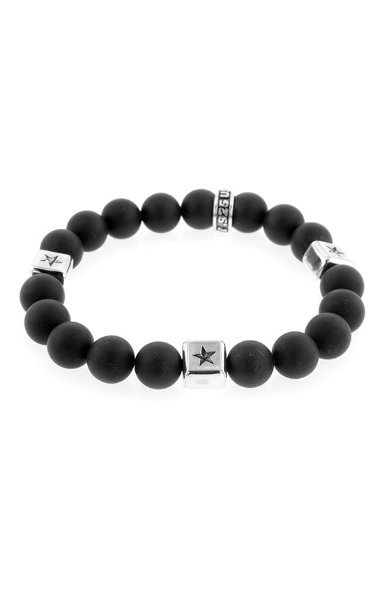10mm Onyx Bracelet with Silver Square Star Stations