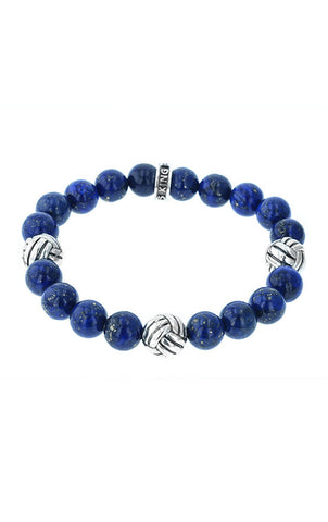 Tri Monkey Knot 10mm Lapis Beaded Bracelet