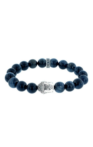 Meditating Buddha Blue Tiger Eye  Bead Bracelet