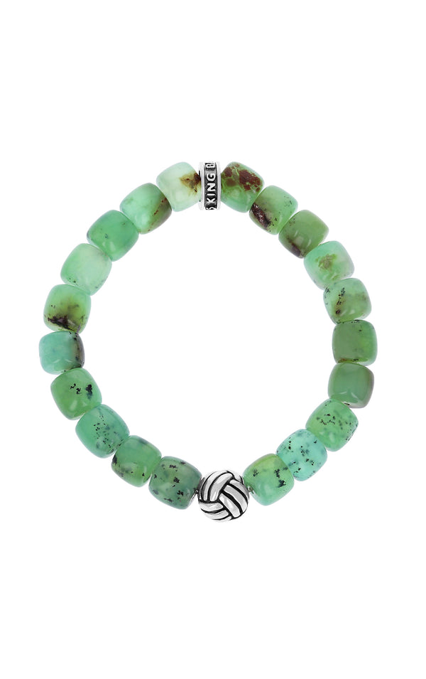 Chrysoprase Barrel Bracelet with Monkey Knot Bead