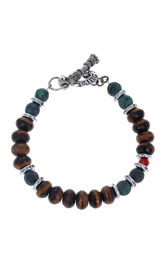 Ceramic, Tiger Eye, and Crystal Bead Bracelet