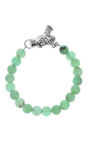 8mm Chrysoprase Bead Bracelet with Silver Toggle Clasp