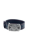 Sterling Silver Eagle Buckle on Black Leather Bracelet
