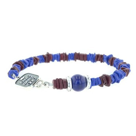 Blue and Burgundy Ceramic Chip Bracelet