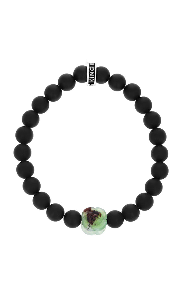 Matte Onyx Bracelet with Chrysoprase Rose