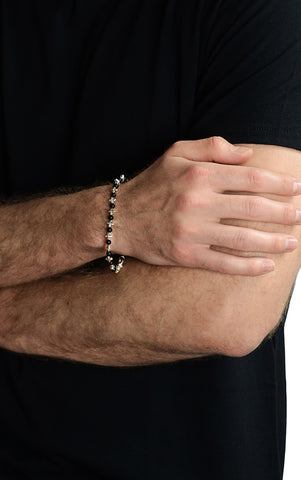 MB Cross and Onyx Bracelet