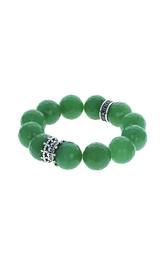 16mm Faceted Green Aventurine Queen Bead Bracelet
