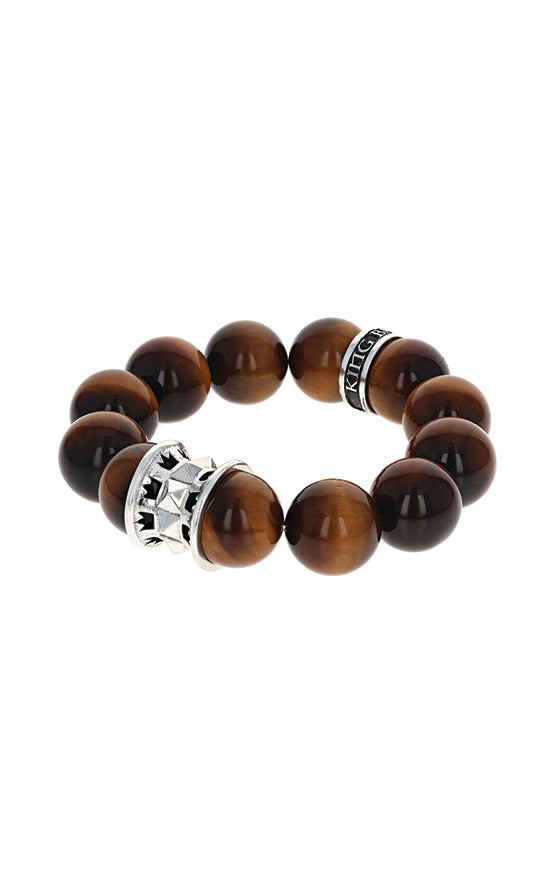 16mm Round Tiger Eye Queen Bead Bracelet w/Spike and Logo Bead