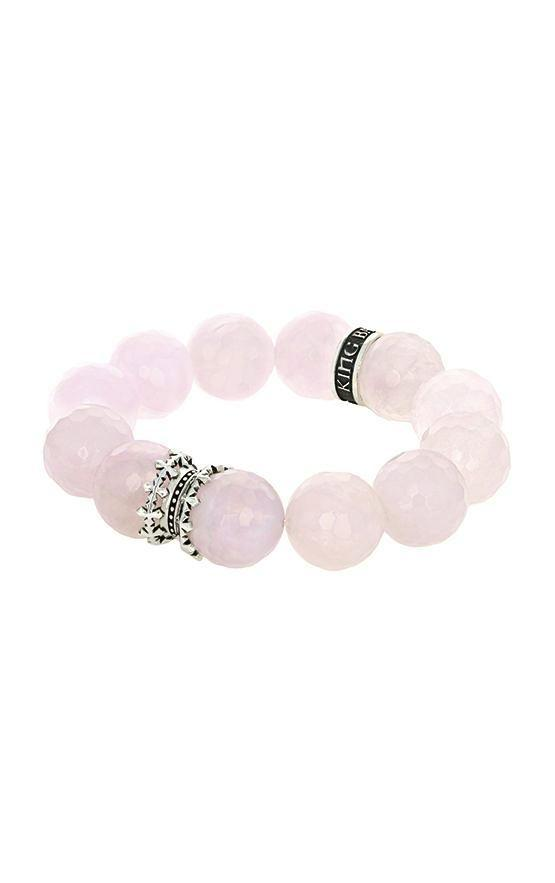 16mm Rose Quartz Faceted Queen Beads w/MB Cross Spacer and Logo Ring