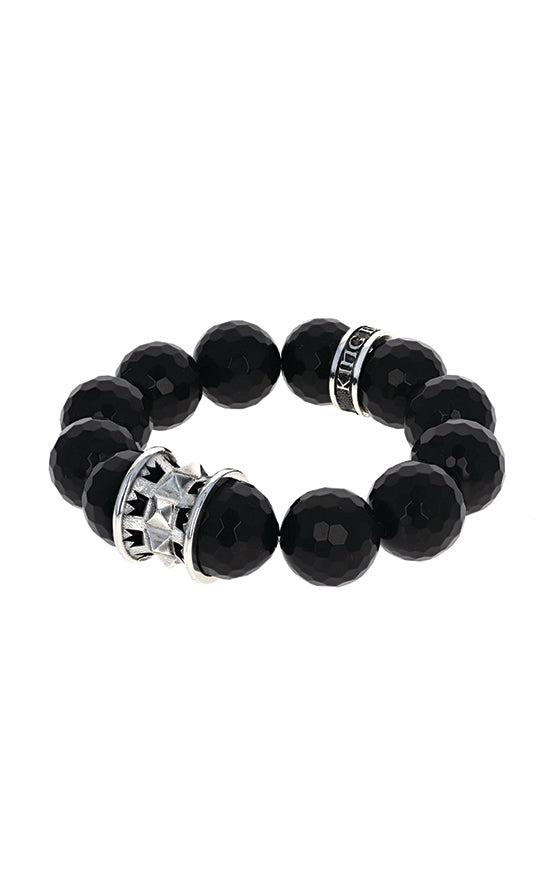 16mm Black Faceted Agate Queen Bead Bracelet w/Spike Spacer and Logo Ring