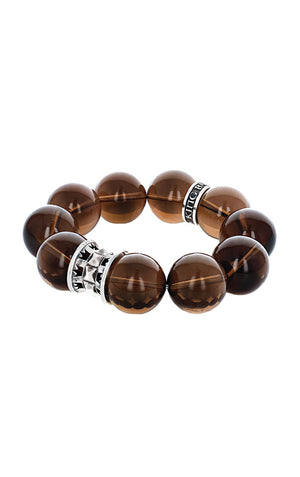 20mm Smoky Quartz Queen Bead Bracelet w/Spike Spacer and Logo Ring
