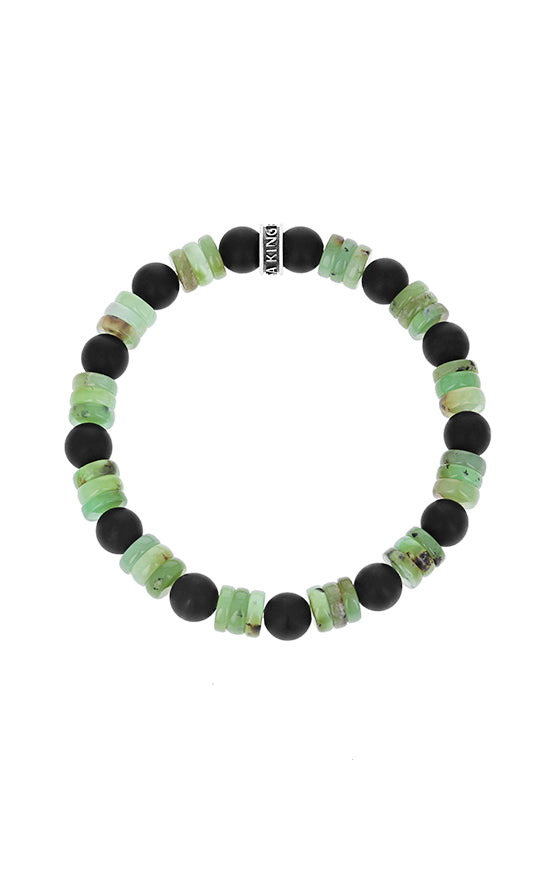 8 mm Chrysoprase & Matte Onyx Combination Beaded Bracelet w/ Logo Ring