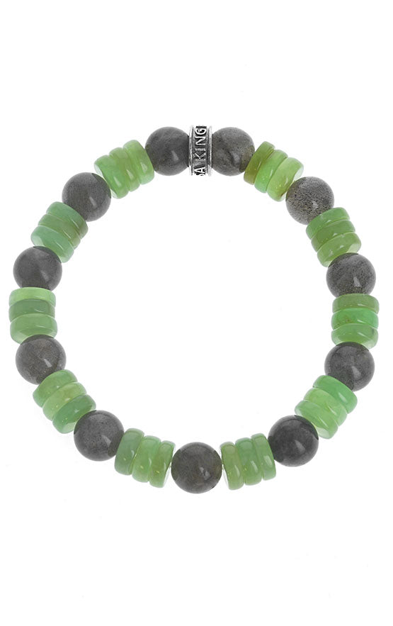 8 mm Chrysoprase & Labradorite Combination Beaded Bracelet w/ Logo Ring