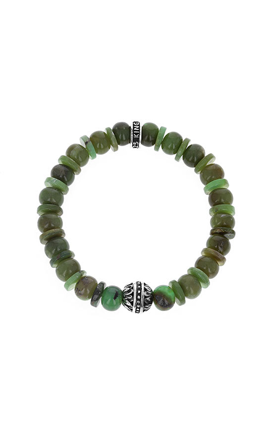 Chrysoprase Bracelet with Silver Floral Bead