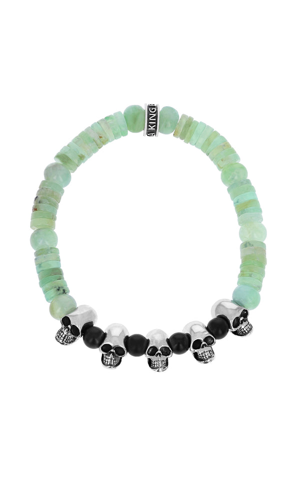 King Baby Chrysoprase Bracelet with Silver Skulls