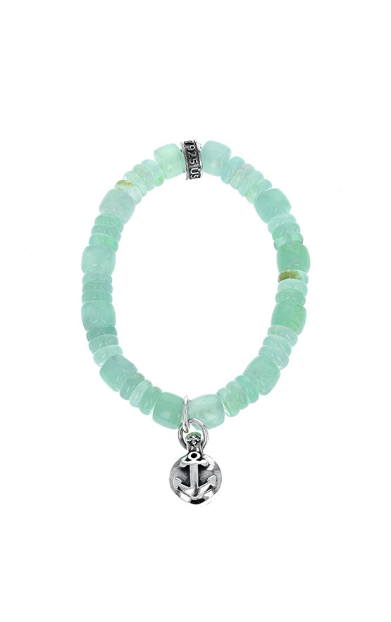 Chrysoprase Bracelet with Silver Anchor Button Charm