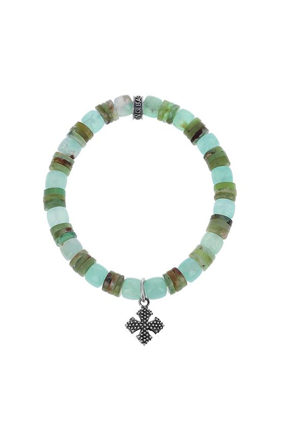 Chrysoprase Bracelet with Industrial Cross Charm