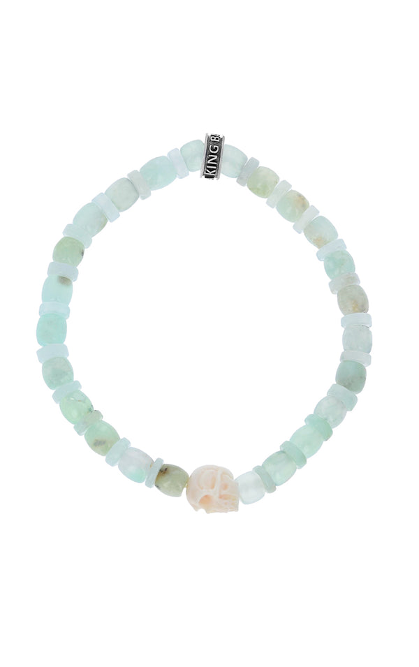 Chrysoprase Bracelet with Bone Skull