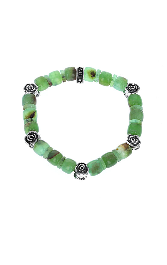 Chrysoprase Bracelet With Rose Beads & Logo Ring