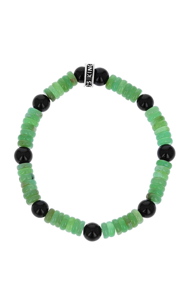 King Baby Chrysoprase and Polished Onyx Bracelet