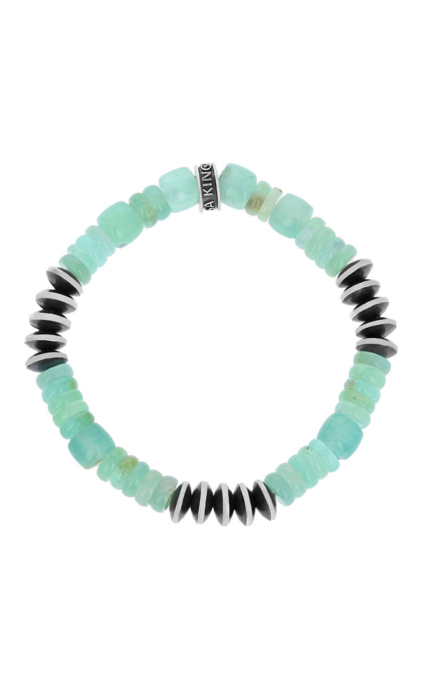 King Baby Chrysoprase and Silver Disk Bracelet