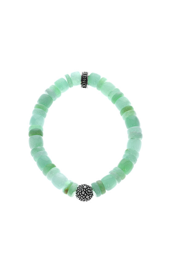 Chrysoprase Bracelet with Silver Round Industrial Bead