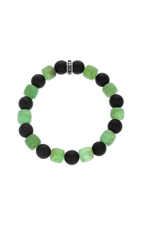 Chrysoprase and Matte Onyx Bracelet