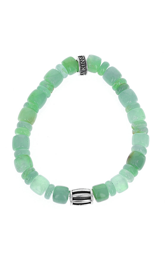 Chrysoprase Bracelet and Barrel Bead With Logo Ring