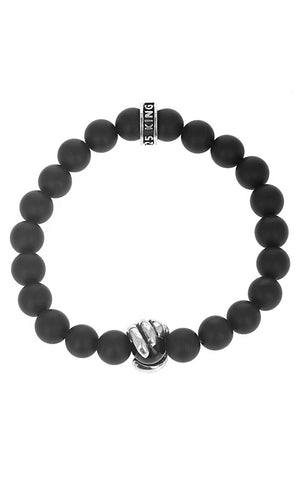Matte Onyx Bead Bracelet with Scroll Charm
